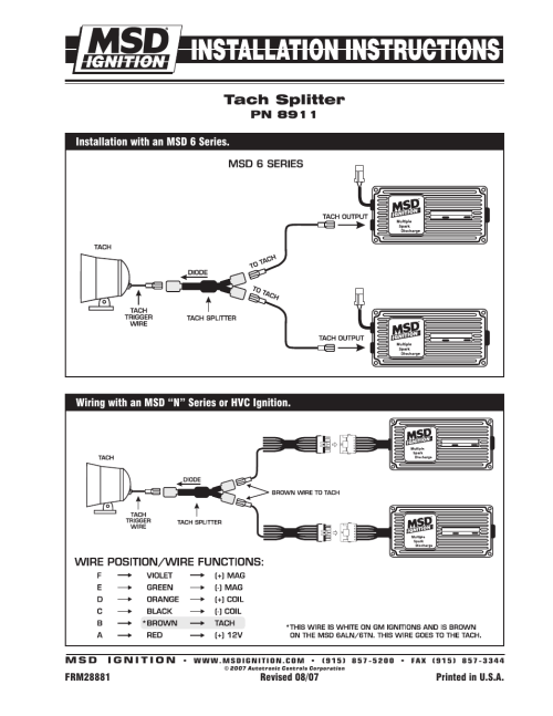 small resolution of msd 8911 tach splitter dual ignition systems installation user manual 1 page