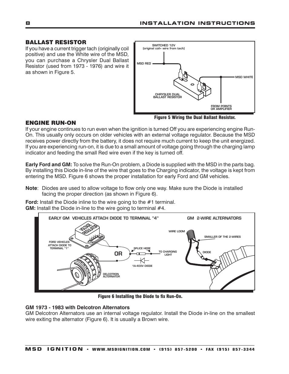 medium resolution of ballast resistor engine run on msd 6440 40th anniversary 6al ignition control installation user manual page 8 16