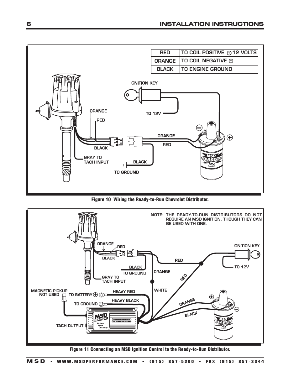 hight resolution of msd 8360 chevy v8 w internal module distributor installation user manual page 6 8 also for 8393 chevy 348 409 ready to run distributor installation