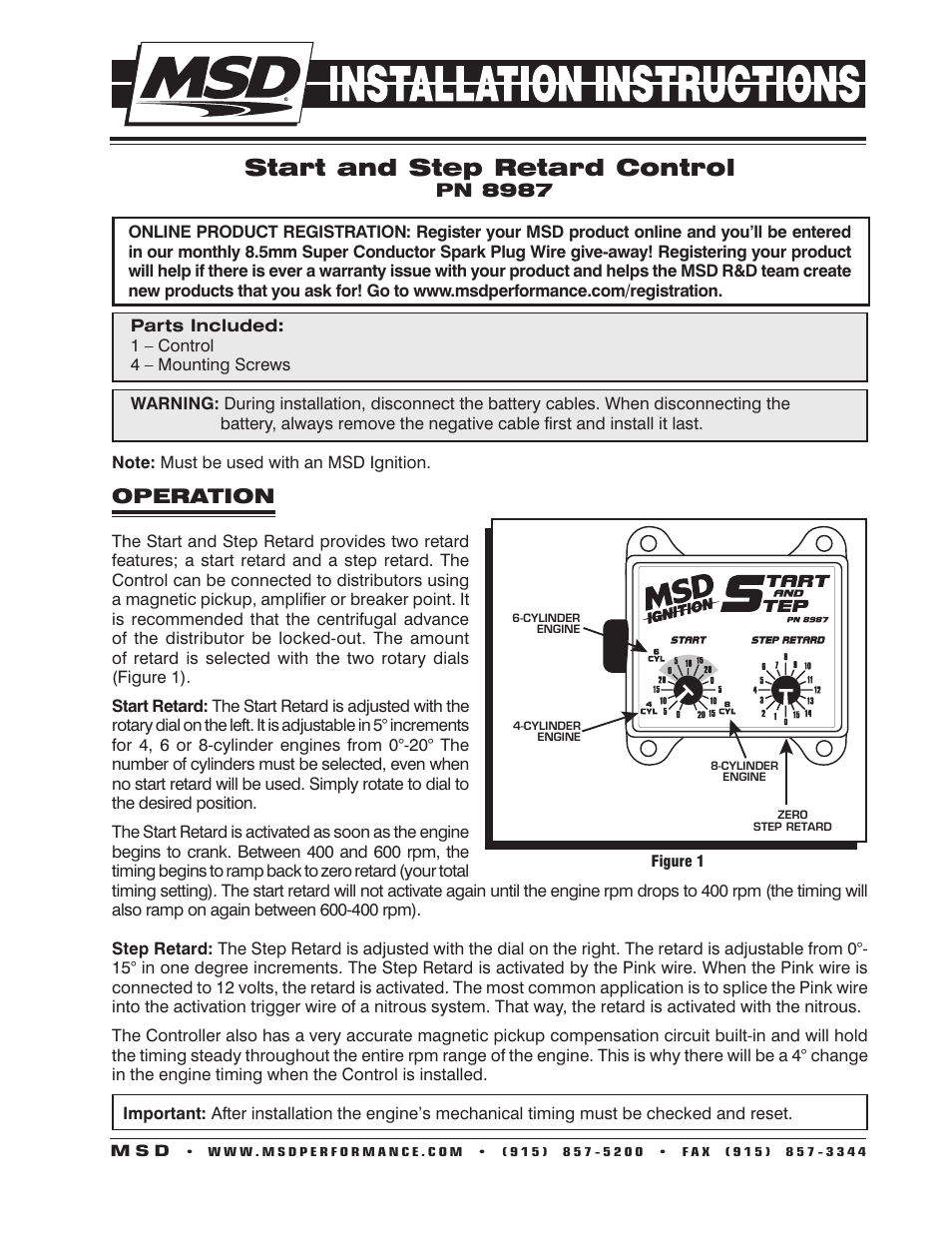 hight resolution of msd 8987 start and step timing control installation user manual 4 pages