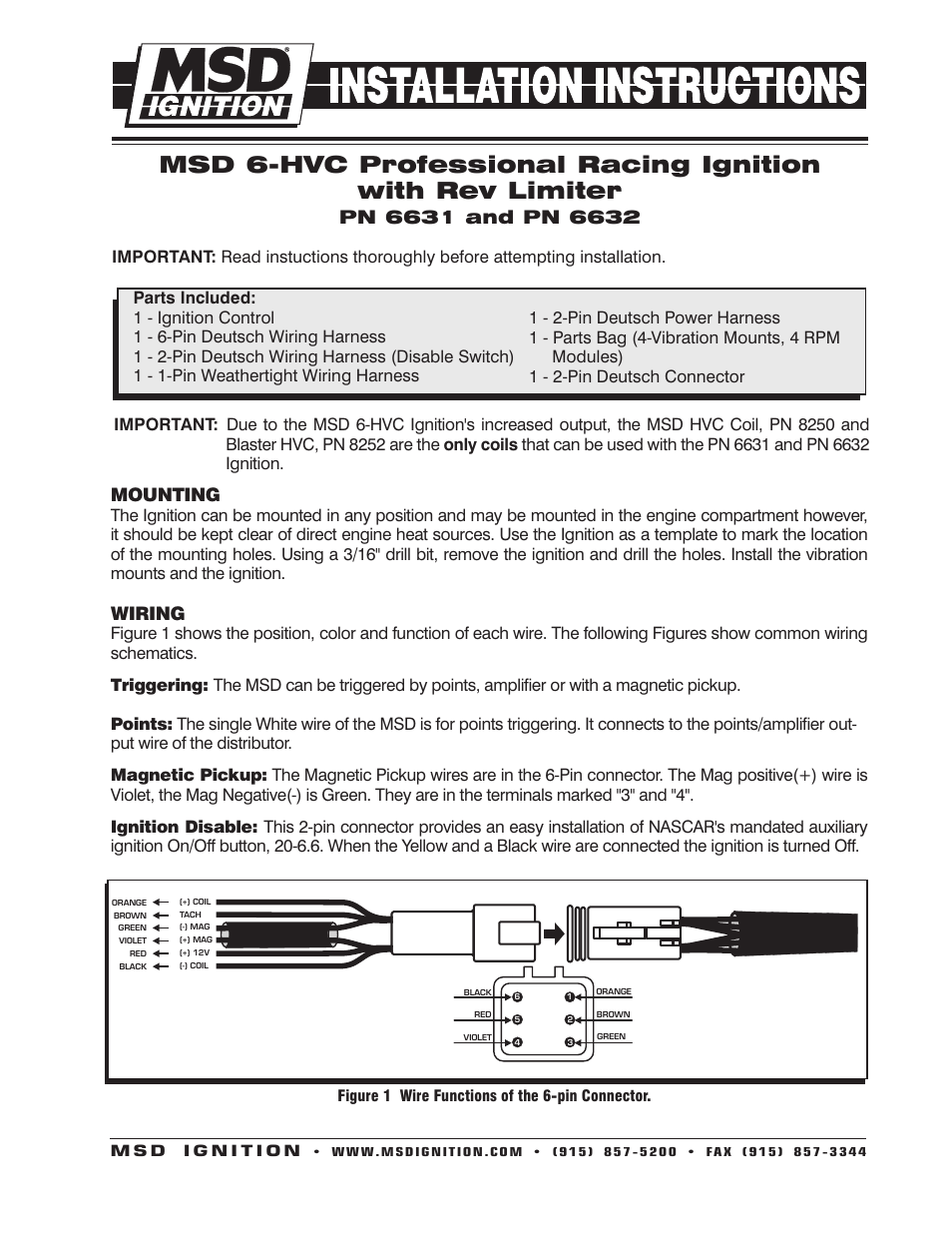 hight resolution of msd 6631 6 hvc professional race with rev control deutsch connectors installation user manual 4 pages also for 6632 6hvc l with soft touch rev control