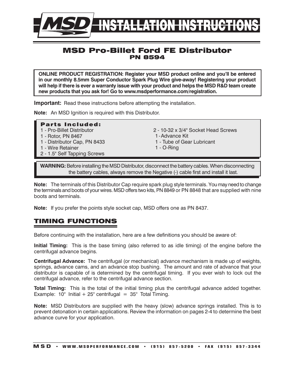 hight resolution of msd 8594 ford fe pro billet distributor installation user manual 8 pages