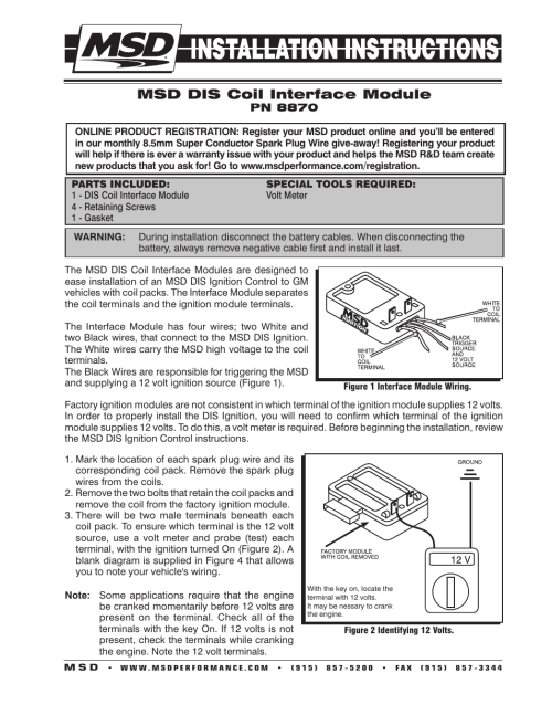 small resolution of msd 8870 coil interface block gm dual tower coils installation user coil and distributor wiring