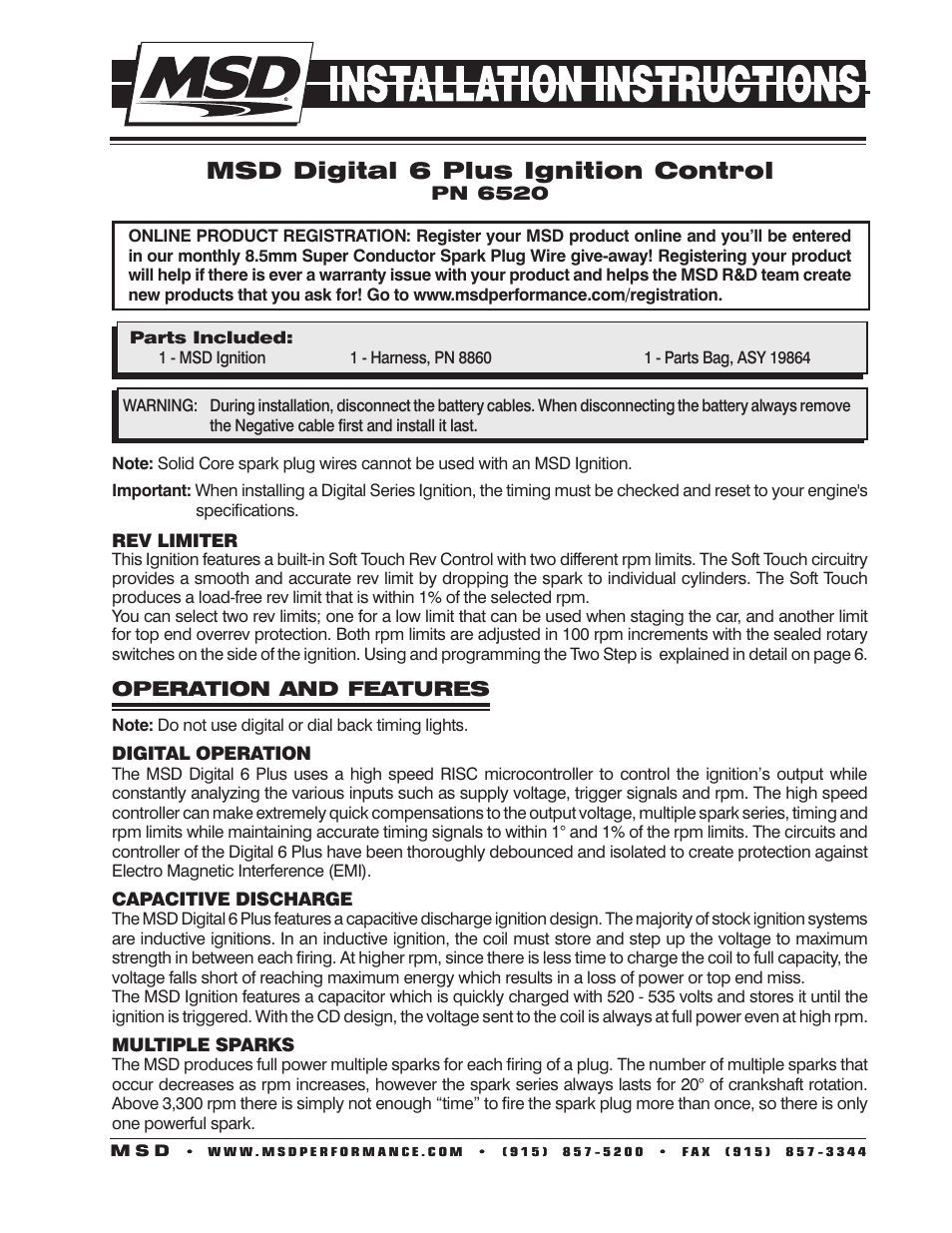 MSD 6520 Digital 6 Plus Ignition Control Installation User Manual