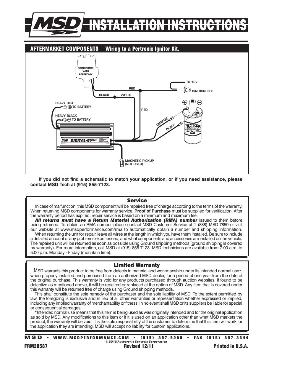 hight resolution of limited warranty service msd 6520 digital 6 plus ignition control installation user manual page 24 24