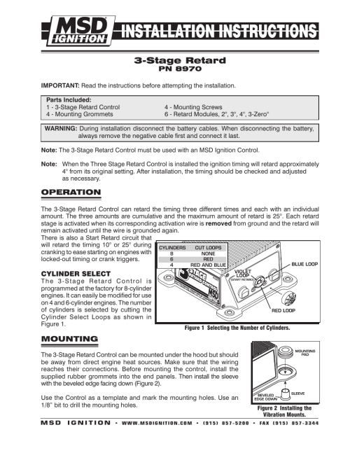 small resolution of msd 8970 three stage retard control installation user manual 8 pagesmsd retard box wiring diagram