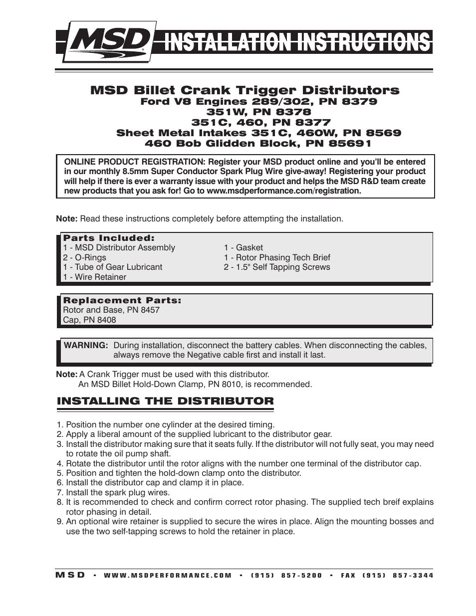 medium resolution of msd 8378 ford 351w crank trigger distributor installation user manual 2 pages also for 8569 ford 351c 460 crank trigger distributor installation