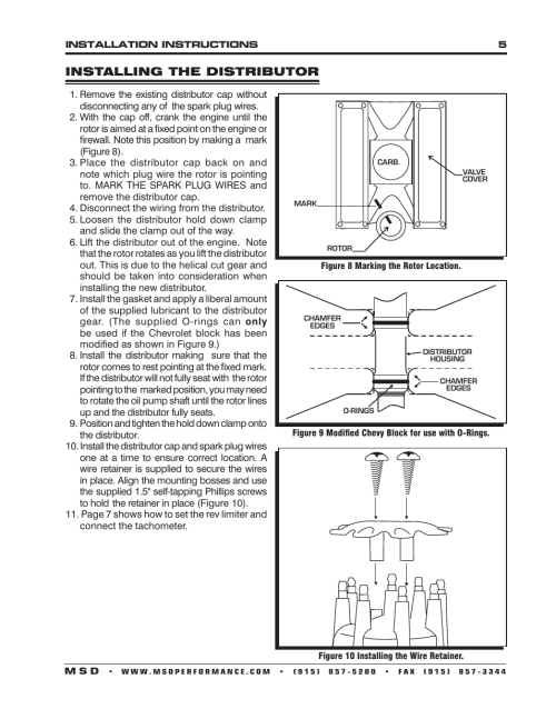 small resolution of installing the distributor msd 83506 ford 351 460 ready to run msd 6al wiring diagram for tach 83606 msd wiring diagram