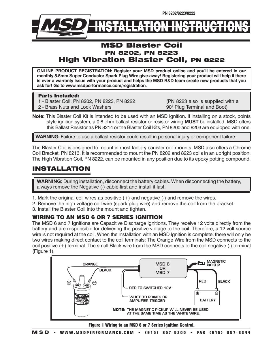 medium resolution of msd 8202 blaster 2 coil hi performance installation user manual 2 rh manualsdir com msd ignition coil wiring msd blaster coil wiring harness
