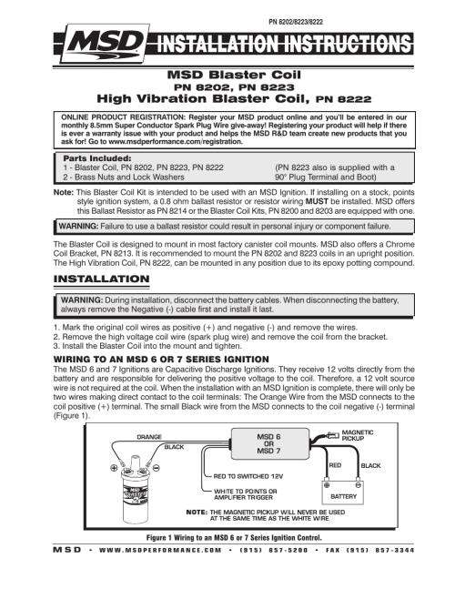 small resolution of msd 8202 blaster 2 coil hi performance installation user manual 2 rh manualsdir com msd ignition coil wiring msd blaster coil wiring harness