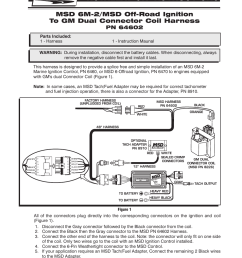 msd 64602 6m 2 to gm dual connector harness installation user manual 2 pages [ 954 x 1235 Pixel ]