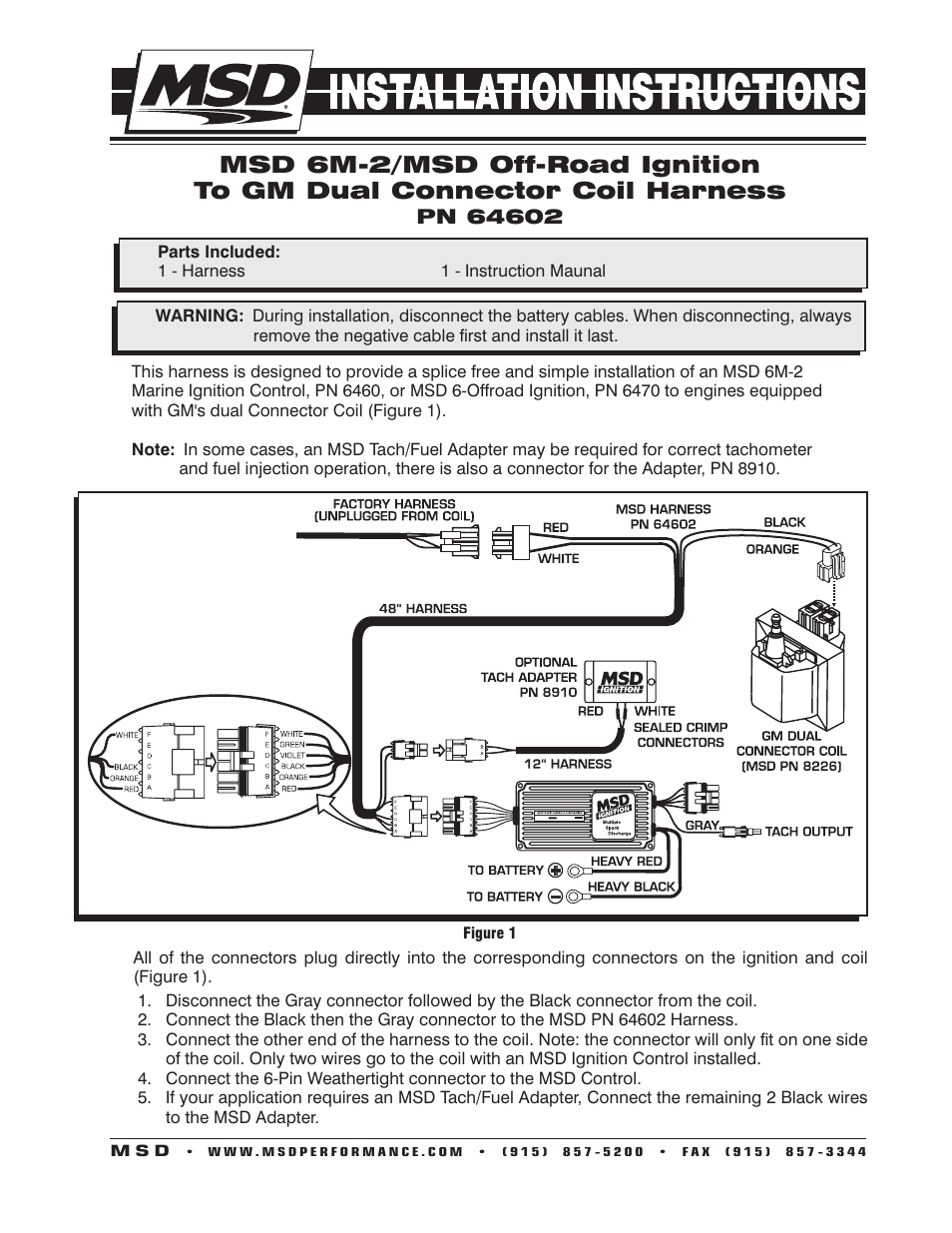 hight resolution of msd 64602 6m 2 to gm dual connector harness installation user manual 2 pages