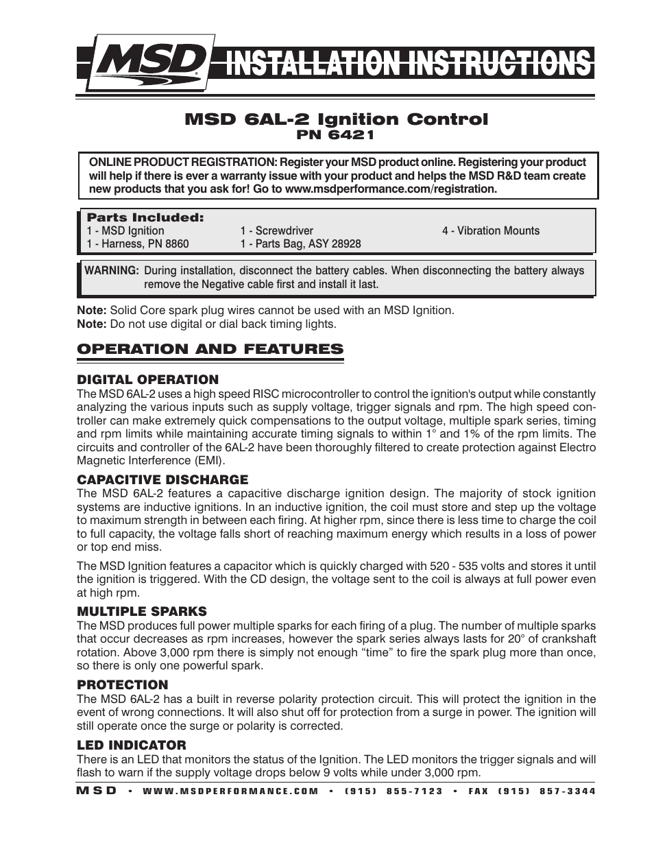 MSD 6421 6AL 2 Ignition Control Installation User Manual 28 Pages