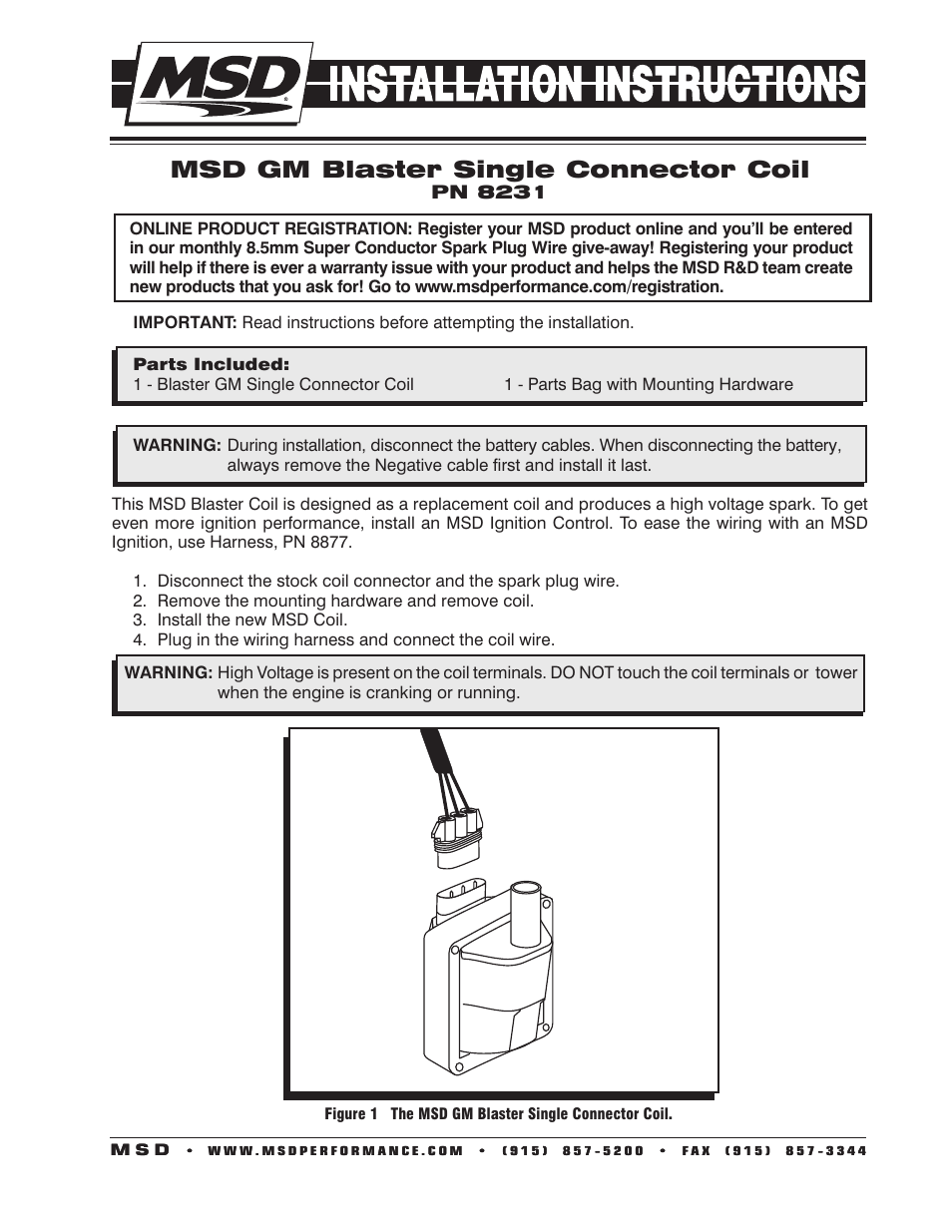 medium resolution of msd 8231 gm 96 97 external single connector coil installation user manual 2 pages