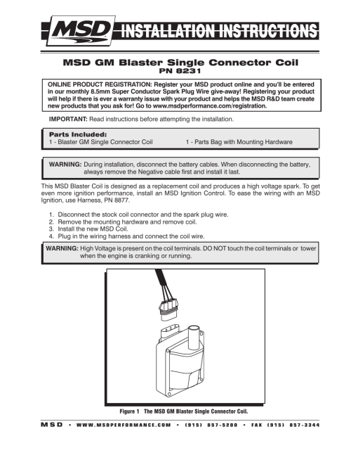 small resolution of msd 8231 gm 96 97 external single connector coil installation user manual 2 pages