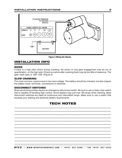 small resolution of installation info msd 5096 dynaforce starter gm ls1 ls7 engines installation user manual page 3 4