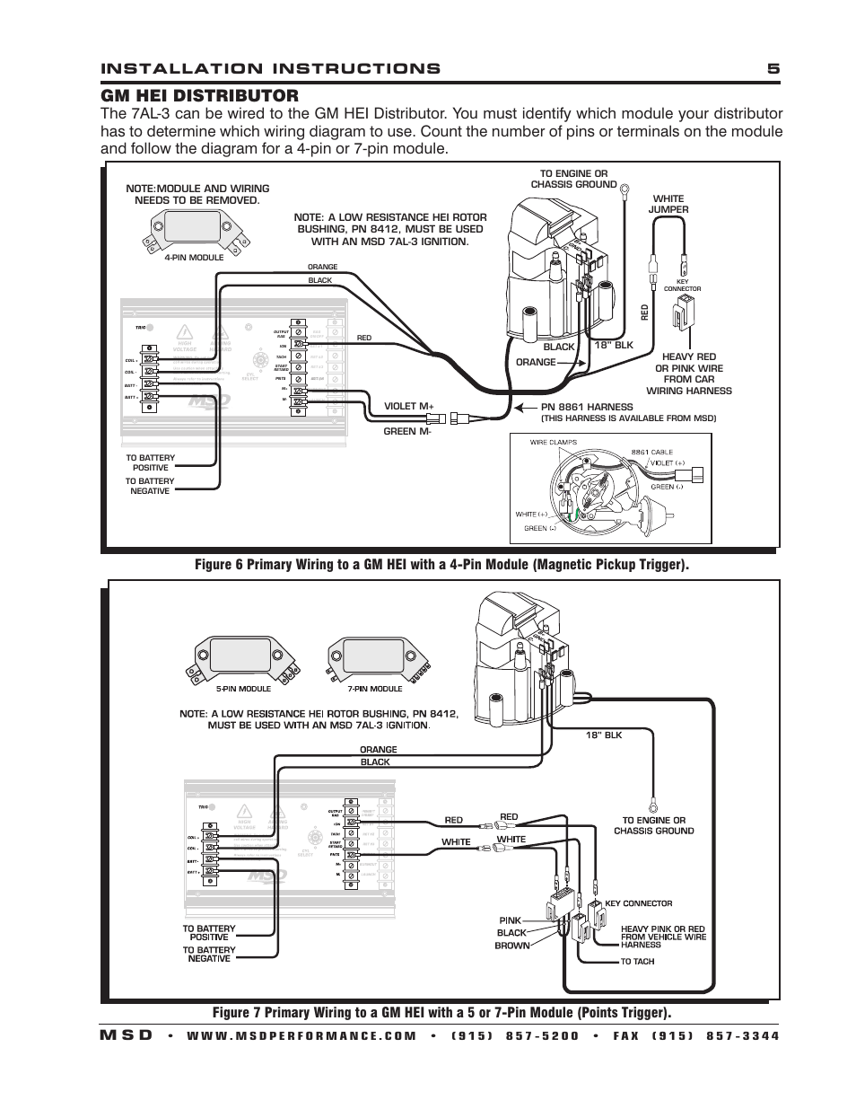 hei wiring diagram pictures of a volcano gm distributor, installation instructions 5 m s d   msd 7330 7al-3 ignition control ...