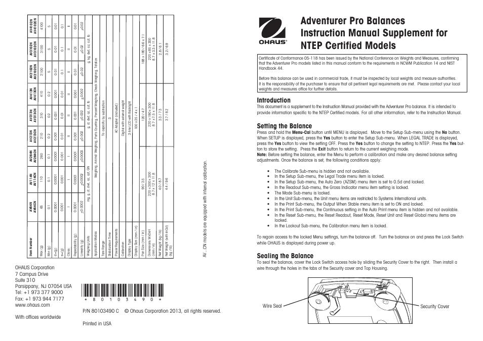 Ohaus ADVENTURER PRO PHARMACY BALANCES Manual Supplement