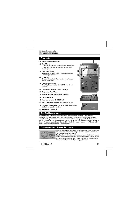 Frontplatte, Das oszilloskop laden, Basisanwendung des