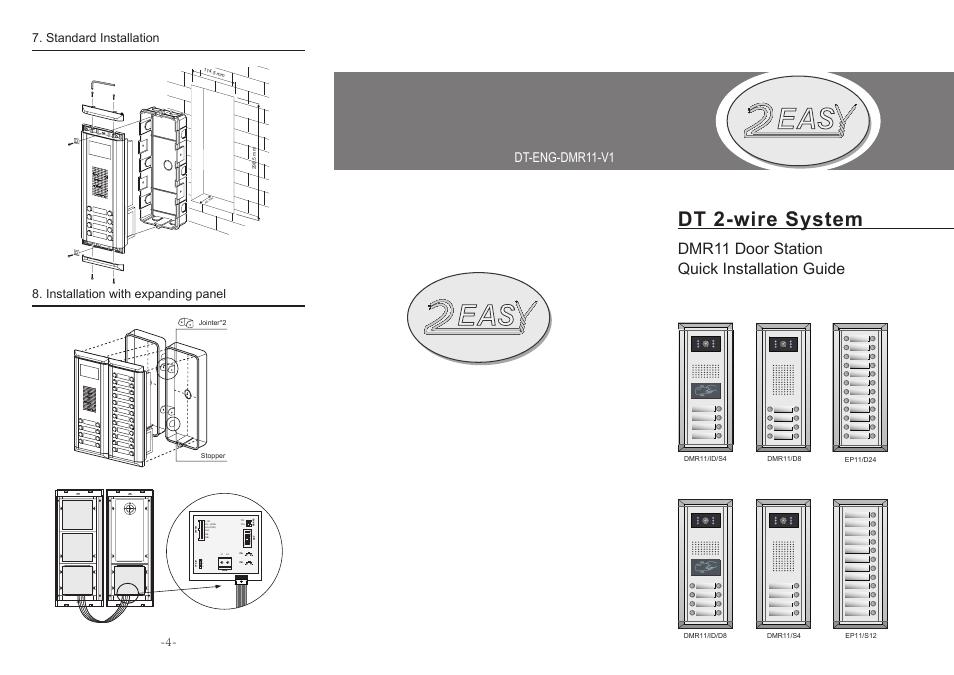Dt 2-wire system, Dmr11 door station quick installation