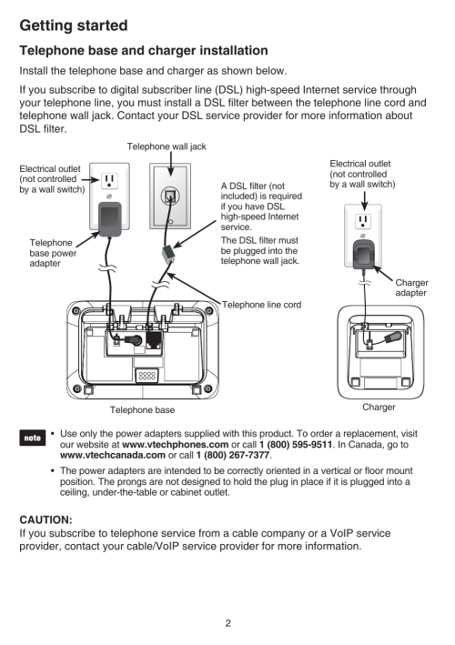 small resolution of telephone base and charger installation telephone base and charger installation vtech cs6829 manual user manual page 6 84