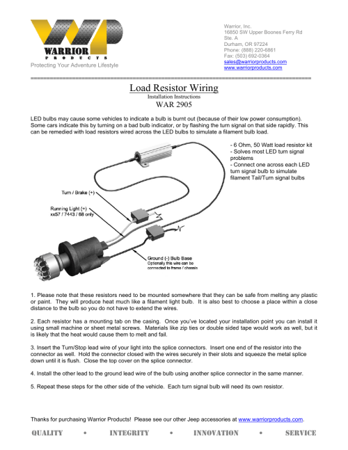 small resolution of warrior 2905 load resistor wiring 2007 2013 jeep jk wrangler user manual 1 page