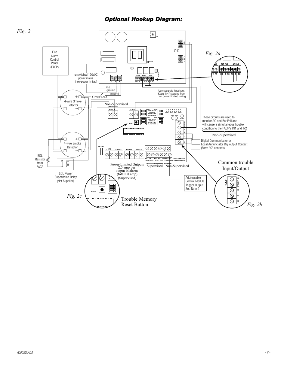 hight resolution of line ground neutral unswitched 120vac power mains non power limited fig 2 altronix al802ulada installation instructions user manual page 7 12