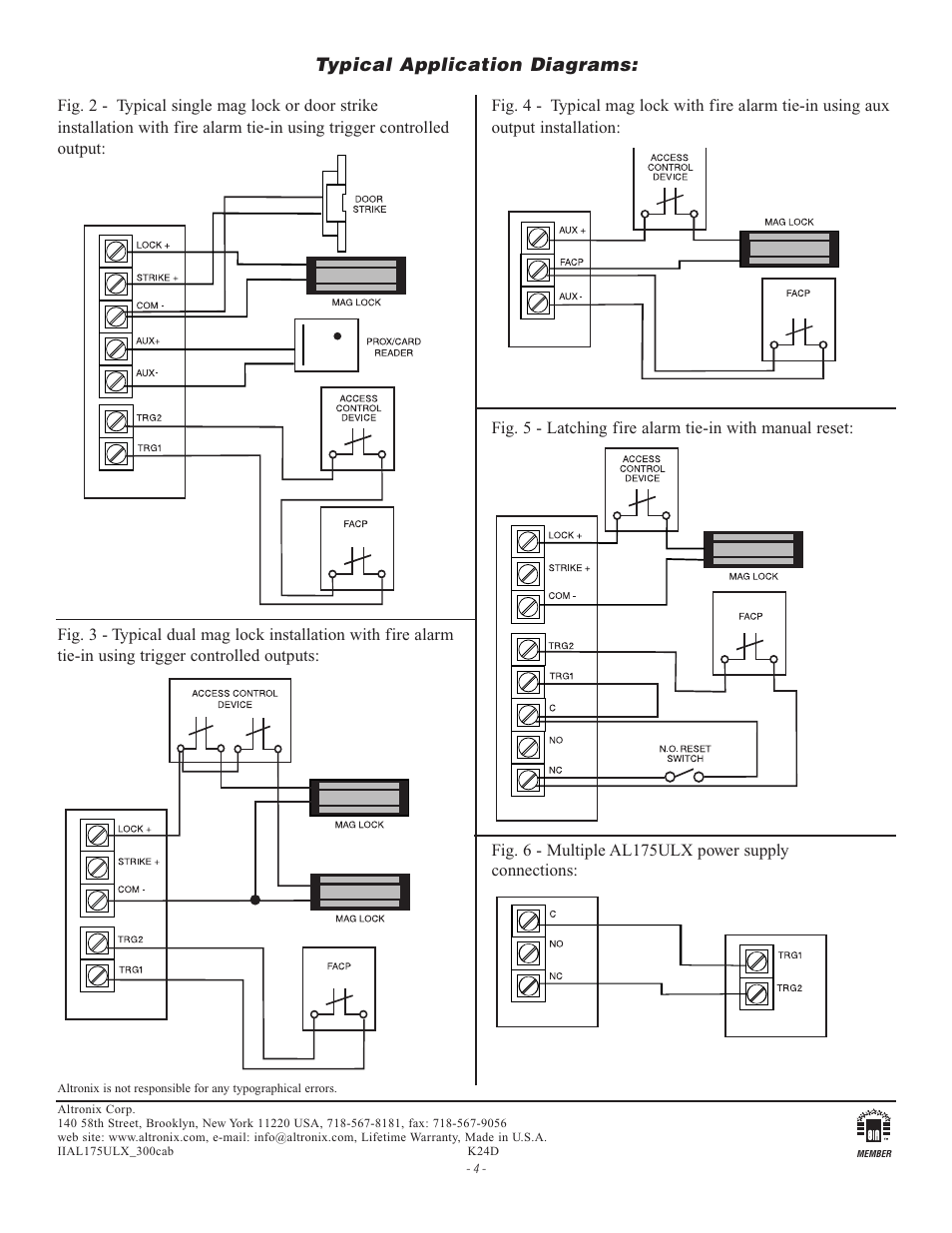 hight resolution of typical application diagrams altronix al175ulx installation instructions user manual page 4 4
