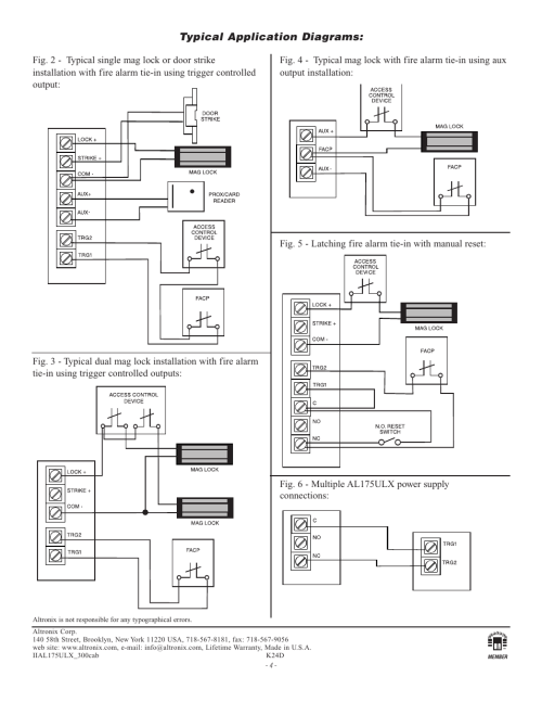 small resolution of typical application diagrams altronix al175ulx installation instructions user manual page 4 4