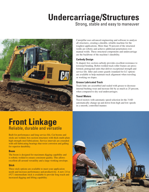 small resolution of undercarriage structures front linkage strong stable and easy to maneuver milton cat 314d lcr user manual page 6 32