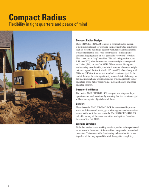 small resolution of compact radius flexibility in tight quarters and peace of mind milton cat 314d lcr user manual page 8 32