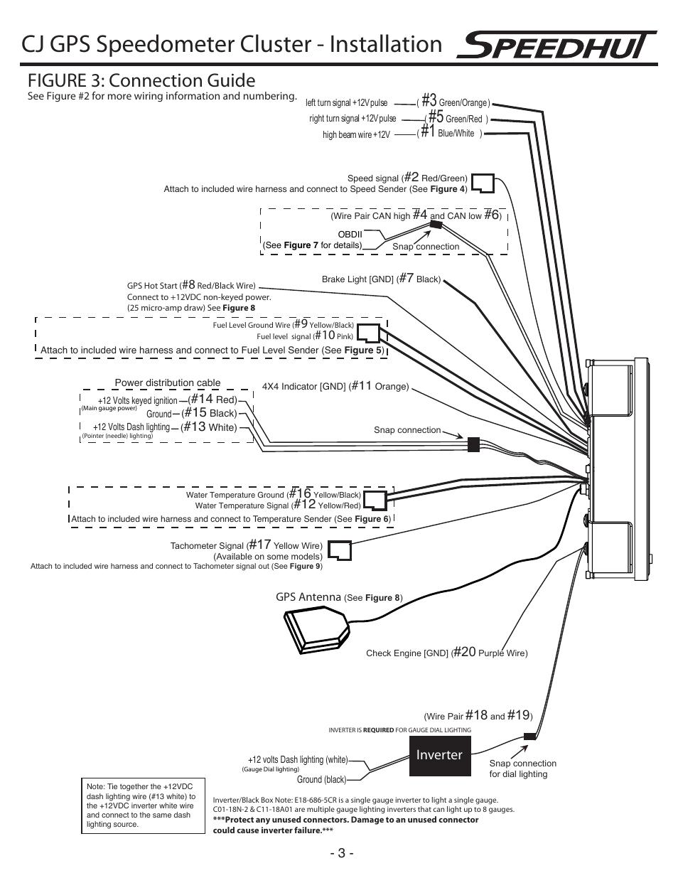 hight resolution of cj gps speedometer cluster installation figure 3 connection guide inverter speedhut