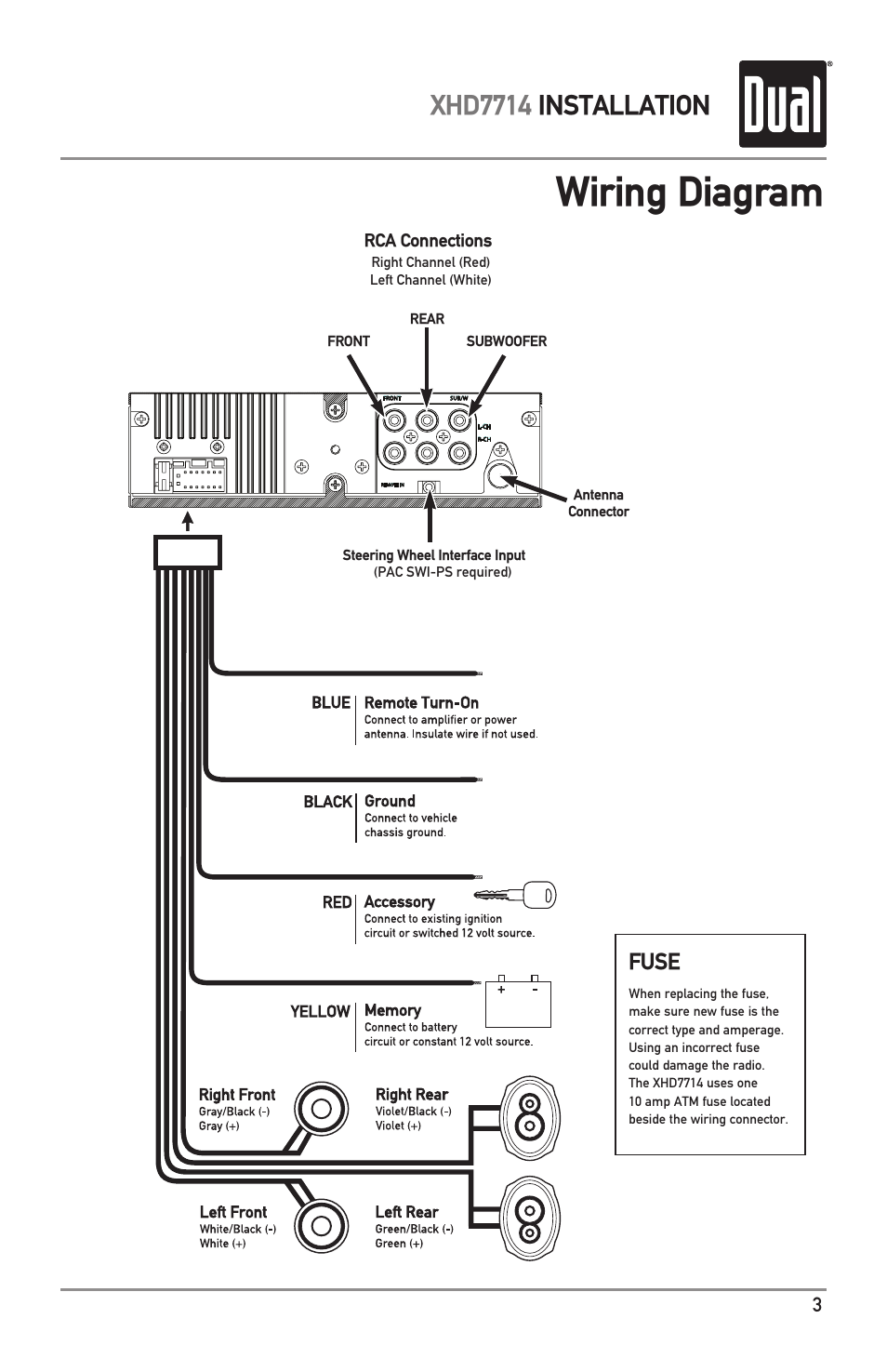 hight resolution of wiring diagram xhd7714 installation fuse dual electronics xhd7714 user manual page 3