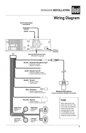 Wiring diagram, Xdma6630 installation, Fuse | Dual
