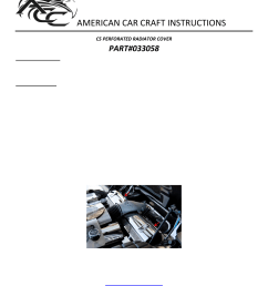 american car craft corvette radiator cover perforated 1997 2004 c5 z06 user manual 1 page [ 954 x 1235 Pixel ]