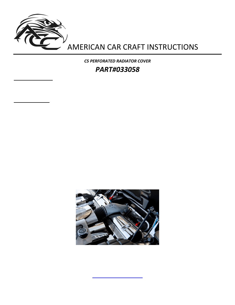 medium resolution of american car craft corvette radiator cover perforated 1997 2004 c5 z06 user manual 1 page