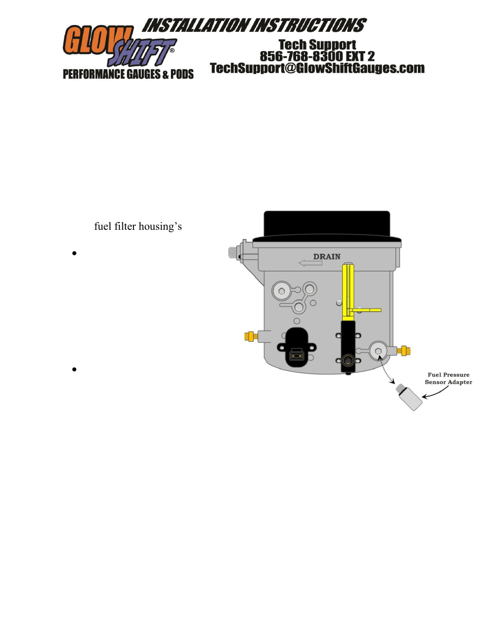 hight resolution of glowshift ford super duty 7 3 powerstroke fuel pressure sensor adapter user manual 1 page