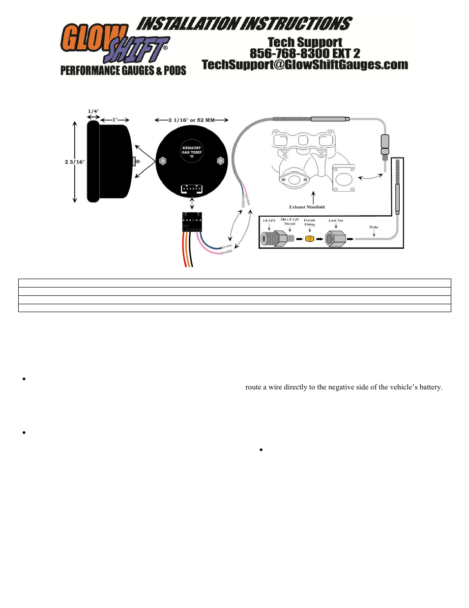 hight resolution of glowshift digital series pyrometer egt gauge user manual 3 pages also for exhaust gas temperature gauge