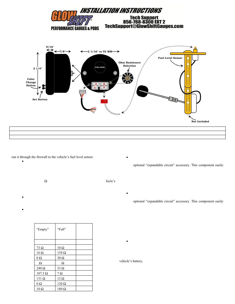 hight resolution of glowshift elite 10 color fuel level gauge user manual 3 pages fuel level sensor wiring