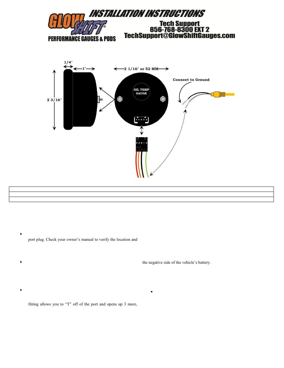medium resolution of glowshift digital series celsius oil temperature gauge user manual