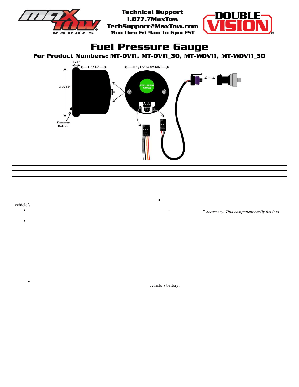 hight resolution of glowshift maxtow series fuel pressure gauge user manual 3 pages also for 100 psi fuel pressure gauge 30 psi fuel pressure gauge