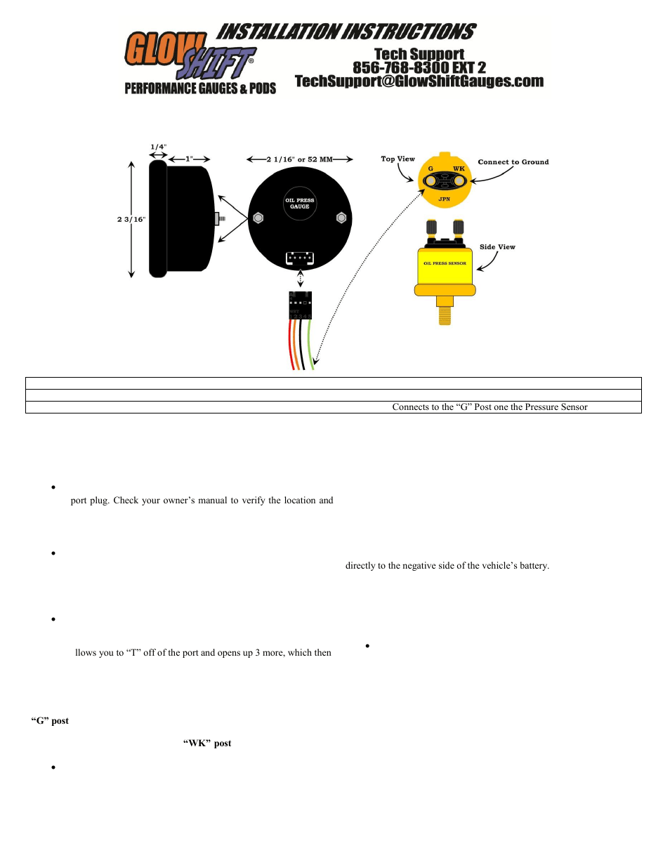 hight resolution of glowshift digital series bar oil pressure gauge user manual 3 pages also for