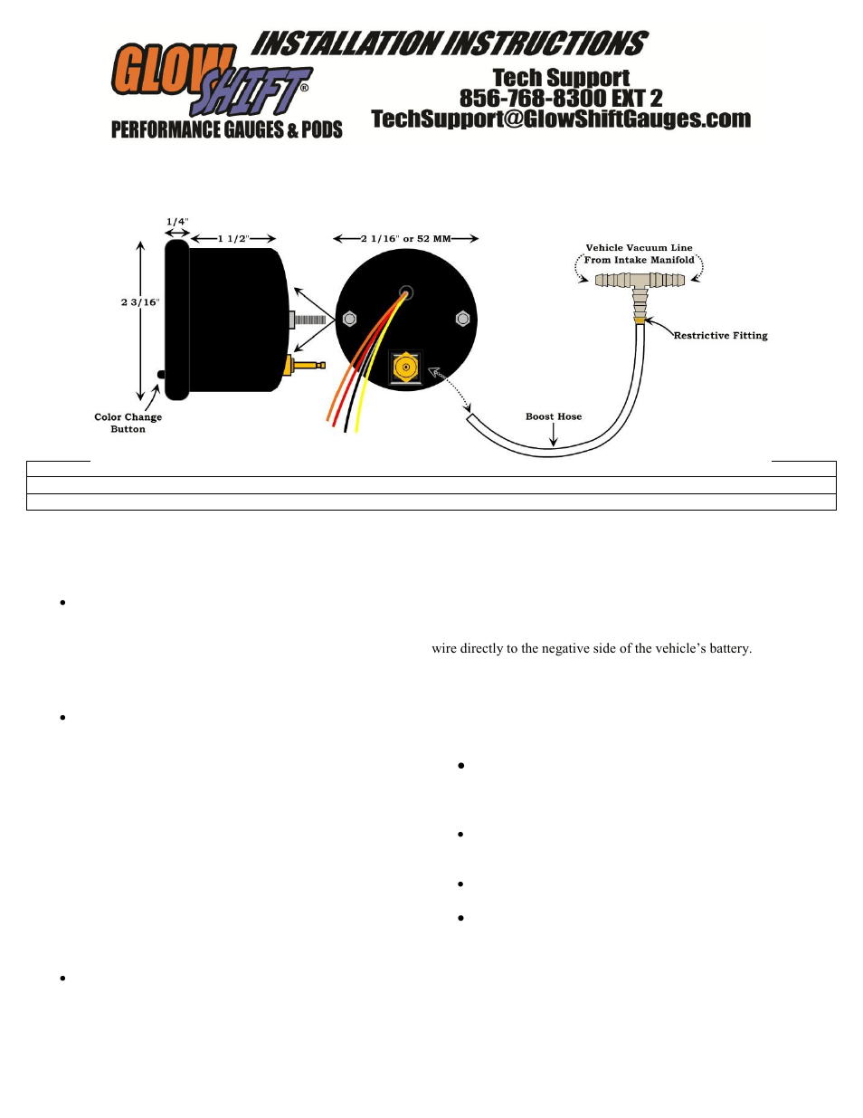 GlowShift 7 Color Series Boost_Vacuum Gauge User Manual