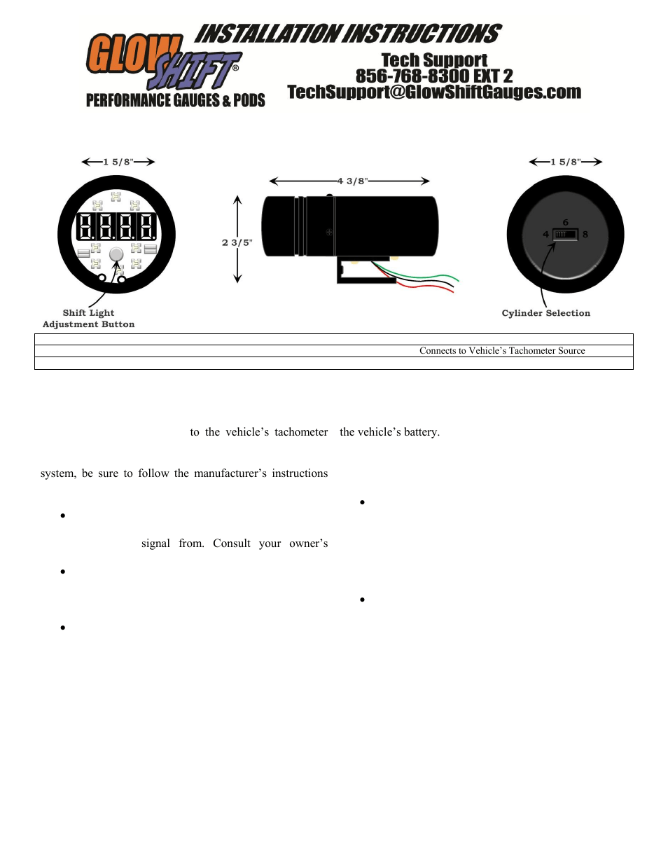 medium resolution of glowshift digital tachometer w shift light user manual 2 pages also for digital tachometer