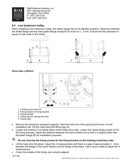 small resolution of r m materials handling wire rope hoists service user manual page 107 130