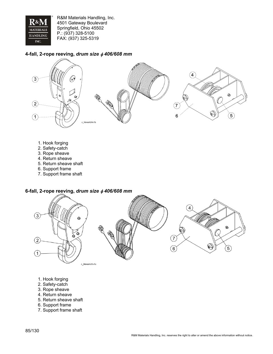 medium resolution of r m materials handling wire rope hoists service user manual page 85 130