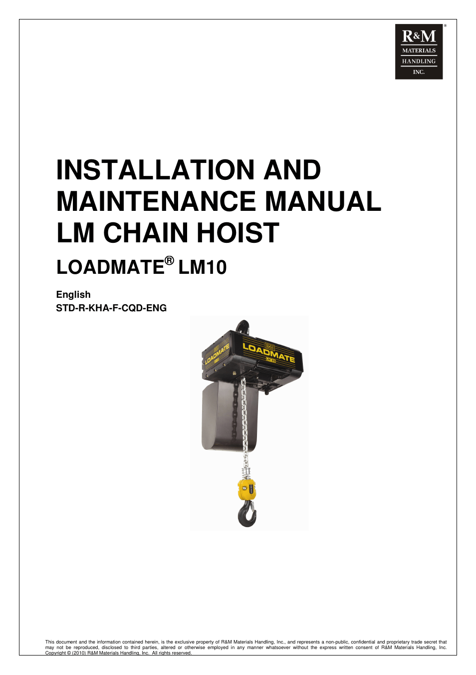 R&M Materials Handling ELECTRIC CHAIN HOISTS LoadMate