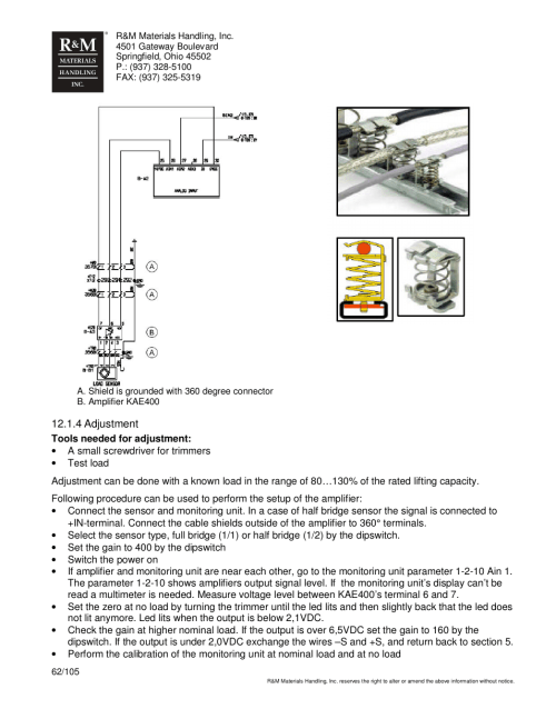 small resolution of r m materials handling hoist monitors user manual page 62 105 r amp m hoist wiring diagram
