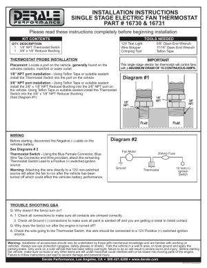 Derale Performance Single Stage Elctric Fan Thermostat User Manual   1 page