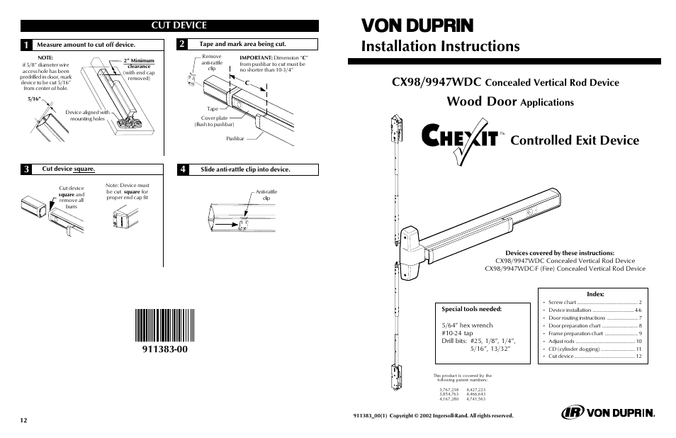 Factory Direct Hardware Von Duprin 9947WDCEOF User Manual